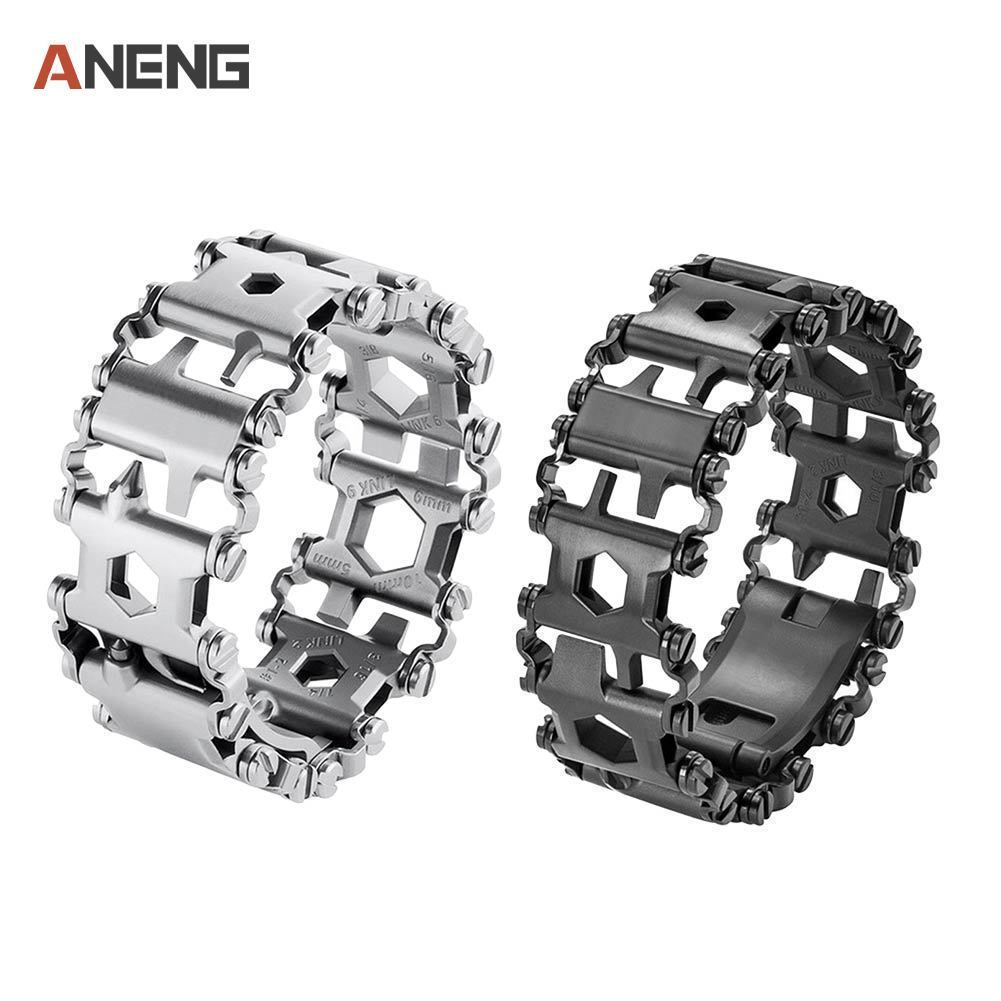 Bracelet 304 Stainless Steel Walker Wearable Multifunctional Tools Punk Outdoor Screwdriver Bracelets Opener Kits Dropshipping 29 in 1 multi functions tools bracelets for mens stainless steel wear tread bracelets wearable screwdriver infinity war bracelet