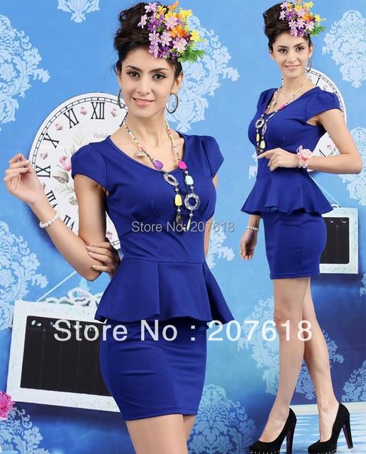 2015 Sexy Women Short Sleeve Peplum Dress Mini Bodycon Formal Dresses Prom Party Dress