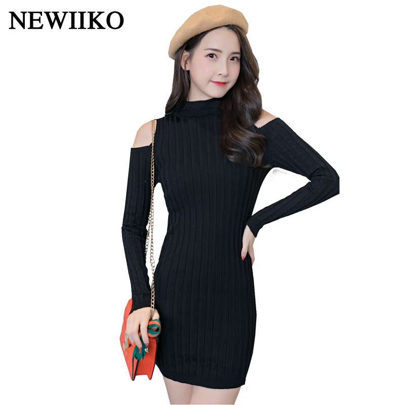 Fashion Autumn Winter women sexy Turtleneck Off Shoulder Casual bodycon Solid color long Sleeve Knitted Dress mini Sweater dRESS sweet off the shoulder long sleeve bodycon sweater dress for women