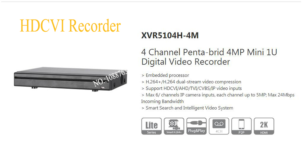 DAHUA 4 Channel Penta-brid 4MP Mini 1U Digital Video Recorder Without Logo XVR5104H-4M dahua penta brid xvr xvr4104hs support