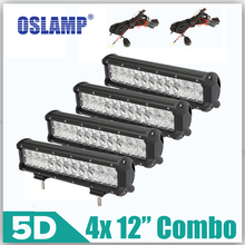 "Oslamp 4×120 W 12 ""Luces de Trabajo LED Light Bar OffRoad 5D Combo de Conducción de La Lámpara 12 v 24 v para el Coche Del Barco Del Carro ATV SUV LED Bar CREE Chips"