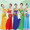 women chinese folk dance costume peacock dance costume female fish tail dress national clothes traditional costumes