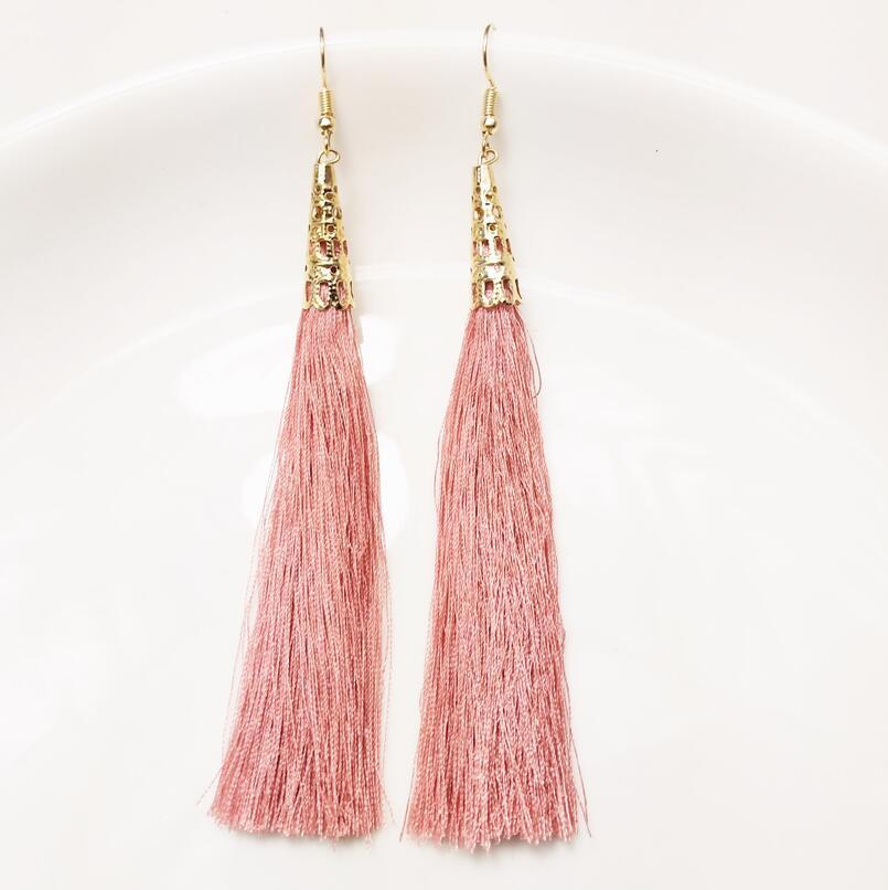 Fashion Long Tassel Earrings Women Jewelry Bohemian Bride Earrings Geometric Hollow Drop Earring