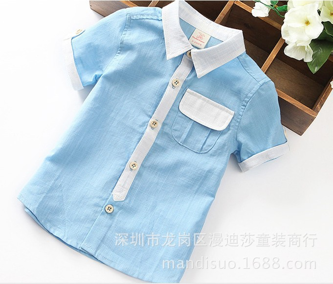 ФОТО 2016 new spring autumn Girls Kids Boys pocket cotton short - sleeved shirt comfortable cute baby Clothes Children Clothing