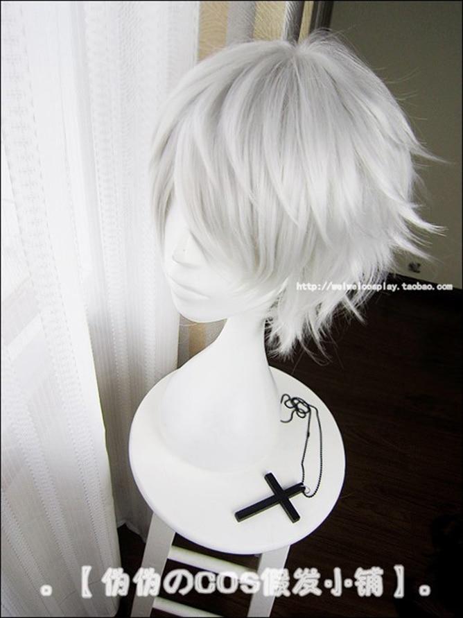 Anime Tokyo Ghoul Kaneki Ken Short Silver White Heat Resistant Hair Cosplay Costume Wig + Free Wig Cap 3