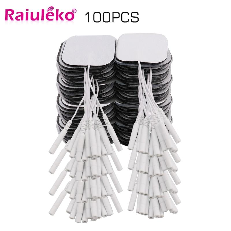 20/100p 5x5cm TENS Ems Nerve Muscle Stimulator Electrode Pads Gel Electrode Pads Tens Electrodes Physiotherapy Machine 2mm Plug