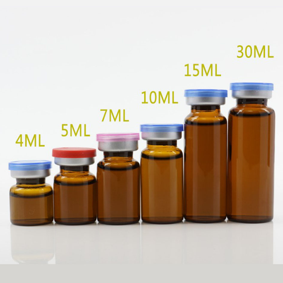50pcs/lot4ml 5ml 6ml 8ml 10ml 12ml 15ml 20ml 30ml Amber Clear Injection Glass Vial &Flip Off Cap Small Glass Medicine Bottles