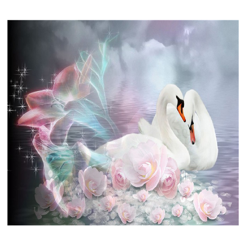 Diy pittura Diamante animale punto croce in cristallo di diamante quadrato imposta unfinish Diamante decorativo ricamo swan