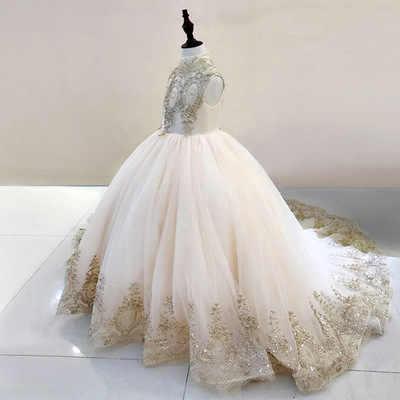 2019 חמוד גבוהה צוואר שרוולים תחרת Applique פרח כדור שמלת ילדה שמלות חתונה פרח ראשית הקודש שמלות תפור לפי מידה