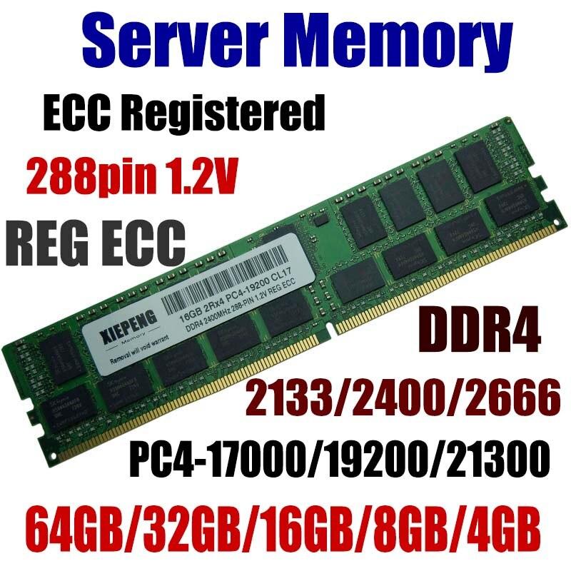 Server Memory 64GB DDR4 PC4-17000 2133 MHz ECC Registered 32GB PC4-19200 2400 MHz ECC Reg 16GB PC4 21300 2666 MHz 8GB 288pin 1.2