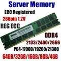Sunucu Belleği 64GB DDR4 PC4-17000 2133 MHz ECC Kayıtlı 32GB PC4-19200 2400 MHz ECC Reg 16GB PC4 21300 2666 MHz 8GB 288pin 1.2