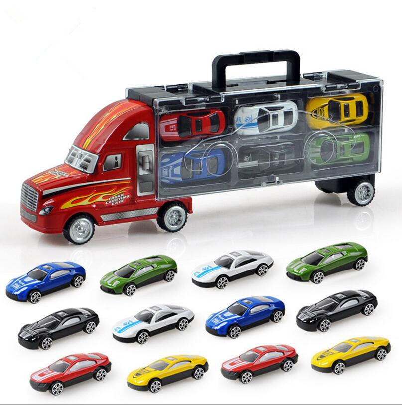 Transport Car Carrier Truck Boys Toy (includes Alloy Metal 12 cars) For Kids Children  (1)