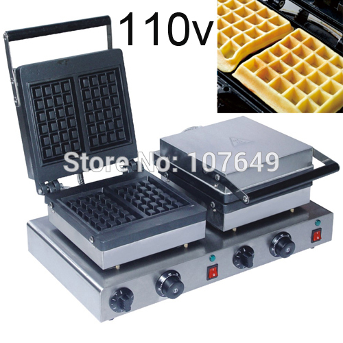 Free Shipping to USA/Canada/Japan/Mexico 110v Commercial Use Non-stick Electric Dual Waffle Machine Maker Iron Baker donut making frying machine with electric motor free shipping to us canada europe