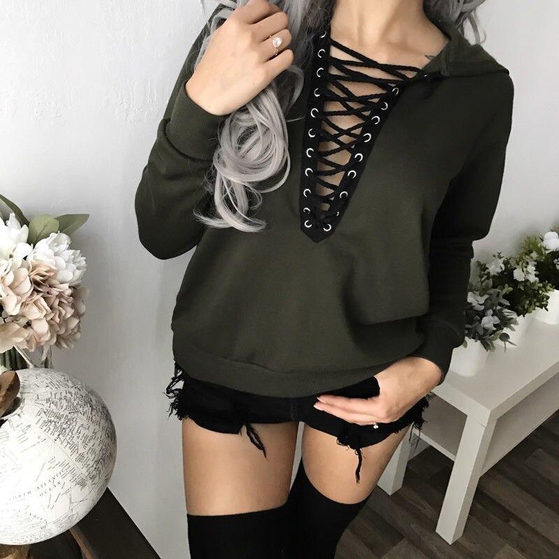 Winter Autumn Women Hoodies Sweatshirts Long Sleeve Hooded Jacket Warm Inclined Front Lace Up Design Sweatshirt Women Sudaderas