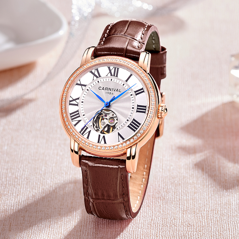 Carnival Women Mechanical Skeleton Watch Automatic Top Brand Luxury Diamond Watches Ladies Roma Number Clock montre femme 2019Carnival Women Mechanical Skeleton Watch Automatic Top Brand Luxury Diamond Watches Ladies Roma Number Clock montre femme 2019