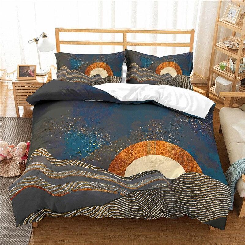3D print Bedding set Mountain sunrise gold sunrise tumbling waves frinds' gift bedding sheet Duvet cover set Home Textiles