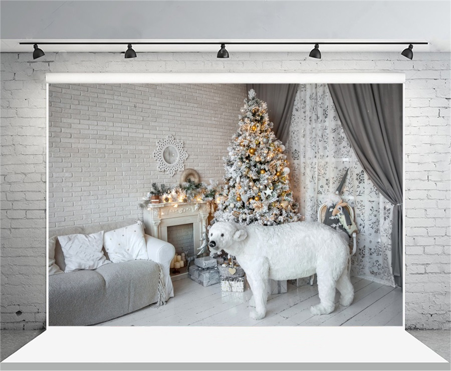 Laeacco White Bear Toy Christmas Tree Fireplace Indoor Photography Backgrounds Vinyl Custom Camera Backdrops For Photo Studio vinyl custom photography backdrops prop christmas tree