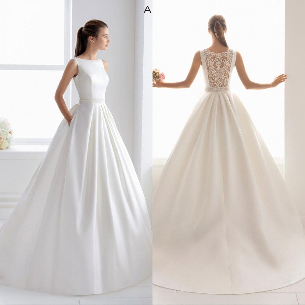 Simlple Silky Satin Bridal Gown 2019 new Sexy Illusion Bride Wedding Dress Luxyry lace Vestido de