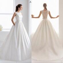 Simlple Silky Satin Bridal Gown 2019 new Sexy Illusion Bride Wedding Dress Luxyry lace Vestido de novia Robe de mariee