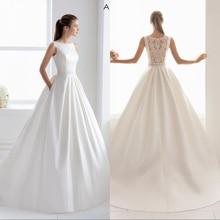 Vestido de noiva simlple seda de cetim, nova sensual ilusão noiva de casamento luxuoso renda 2019