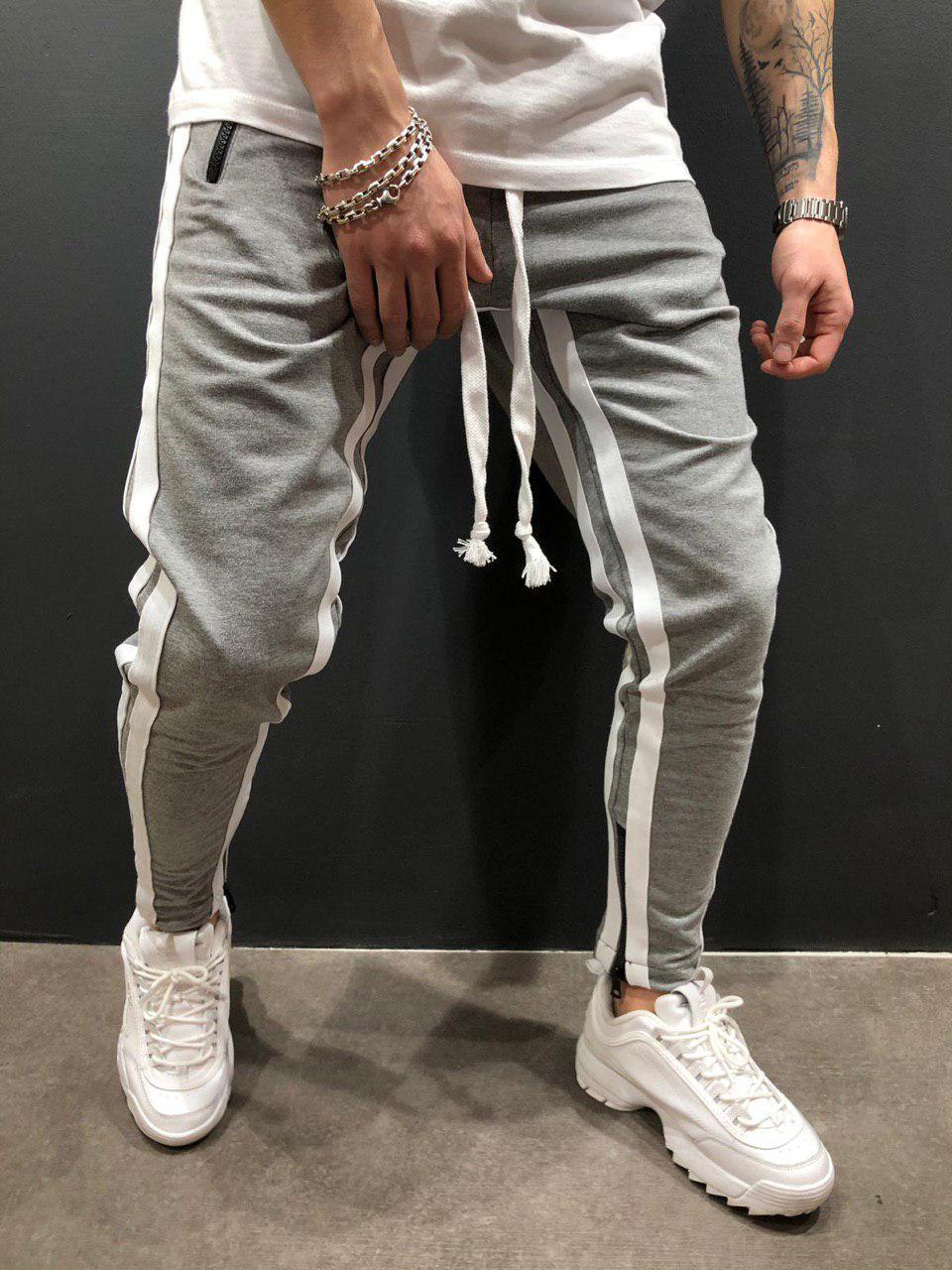Мужские брюки для отдыха, бодибилдинга, с разрезом, на молнии, для ног, для движения, брюки для бега, спортивные штаны - Цвет: gray