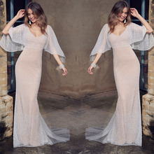 Summer Lace Dress Women Elegant Deep V-neck White Floor-length
