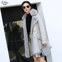 Winter Merino Sheep Fur Coat Women Real Double Faced Fur Overcoat Sheep Shearling Long Jacket Pocket
