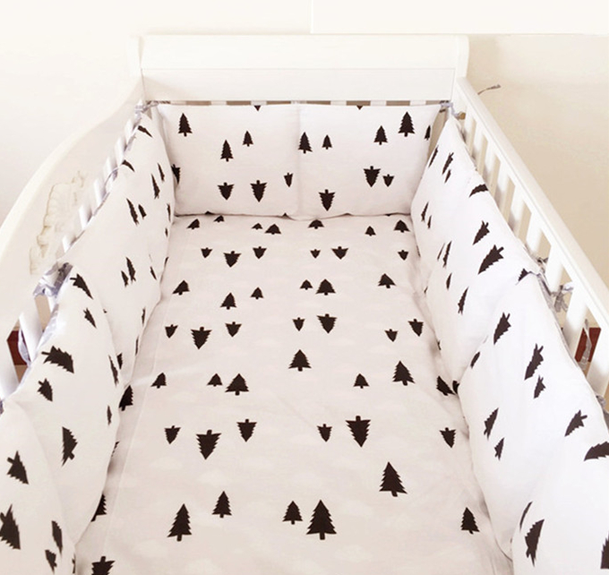 Promotion! 6PCS Owl Baby bedding sets crib set 100% cotton (bumper+sheet+pillow cover)