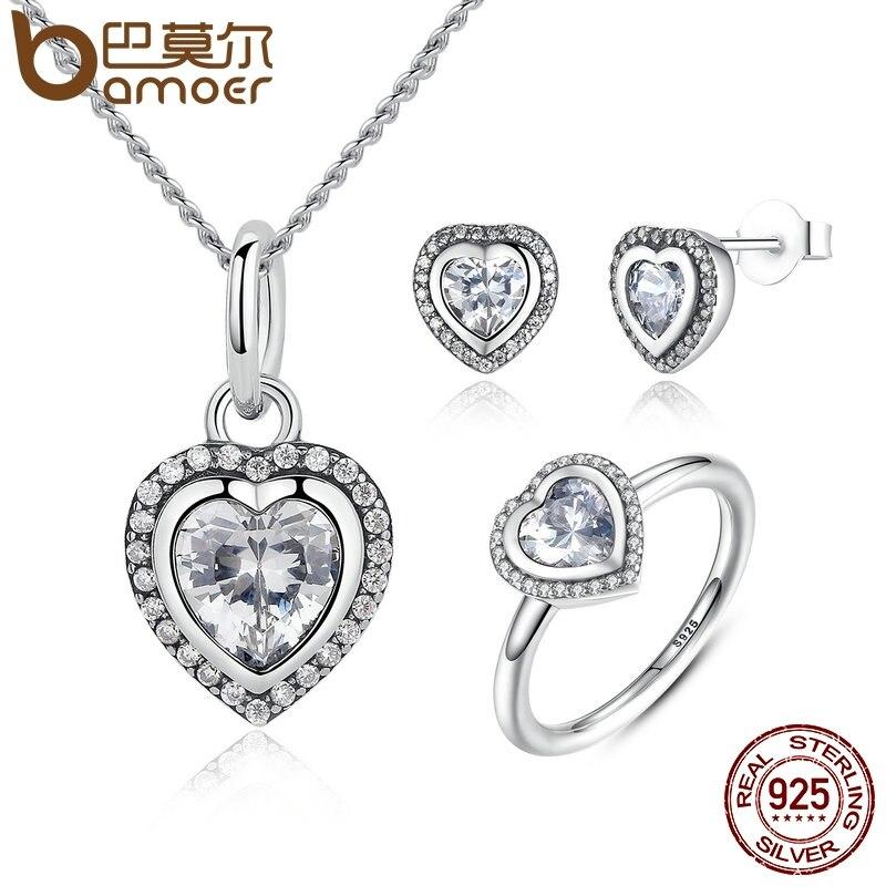 BAMOER 925 Sterling Silver Jewelry Set Ss