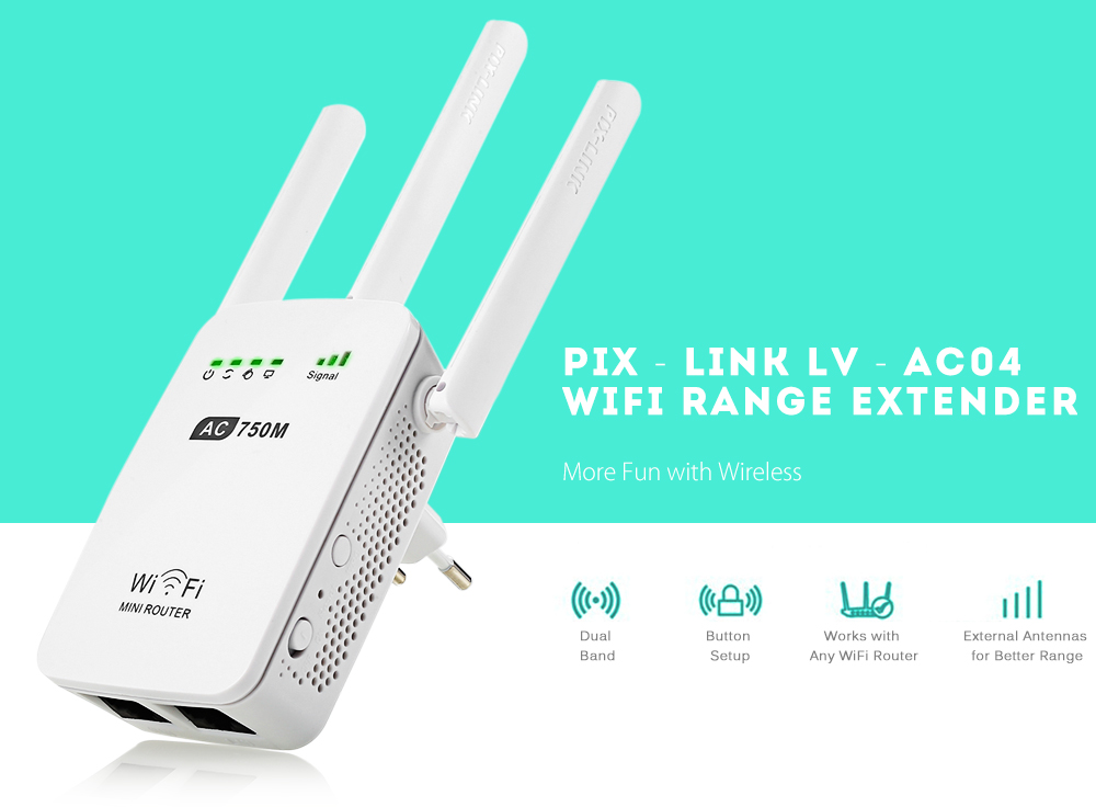 PIXLINK LVAC04 WiFi Repeater/Router/Acess Point Range Extender Dual ...