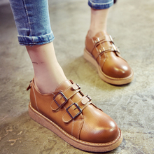 Free shipping autumn new style fashion solid buckle thick sole round toe women's casual flat shoes