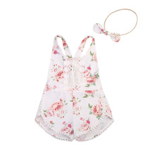 Baby Clothing  Newborn Kid Girl Floral Romper Clothes Sleeveless Jumpsuit Tassel Sunsuit Outfit Set