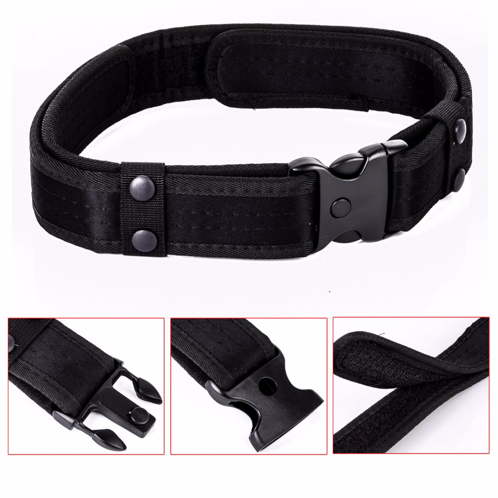 2 Outdoor Utility Tactical Police Security Belt Detachable Black Combat Gear Nylon Duty Belt For Men Hiking Climbing Mayitr image