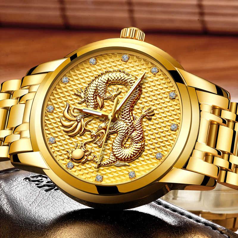 Relogio masculino hakiki LIGE Mens saatler üst marka lüks altın ejderha heykel Quartz saat erkekler tam çelik kol saati + kutu