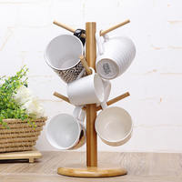 Creative Tree Shape Wood Coffee Tea Cup Storage Holder Stand Home Kitchen Mug Hanging Display Rack