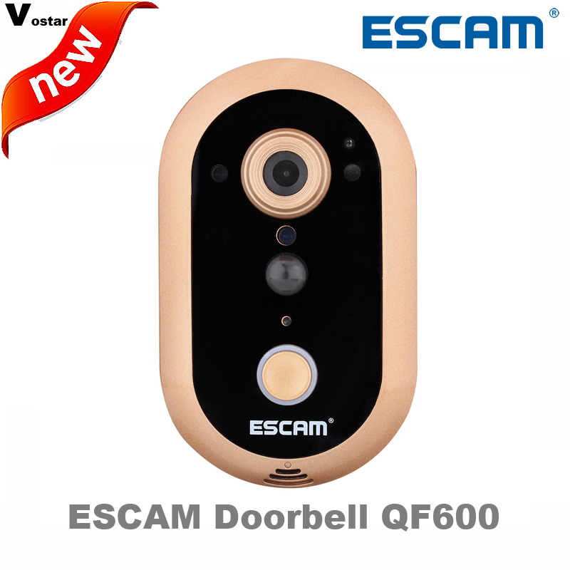 New Escam Doorbell IP Camera QF600 HD 720P 1MP Indoor Smart WIFI Infrared Day/Night vision PIR Alarm Camera free with 8G TF card escam wifi alarm system 433mhz 1527 motion detection ip camera hd 720p
