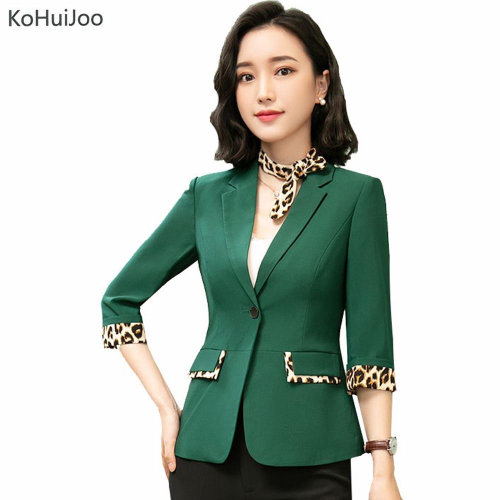 KoHuiJoo Women Summer Plus Size Blazers Jackets Leopard Patchwork Half Sleeve Blazer for Lady Casual One Button Office Jacket