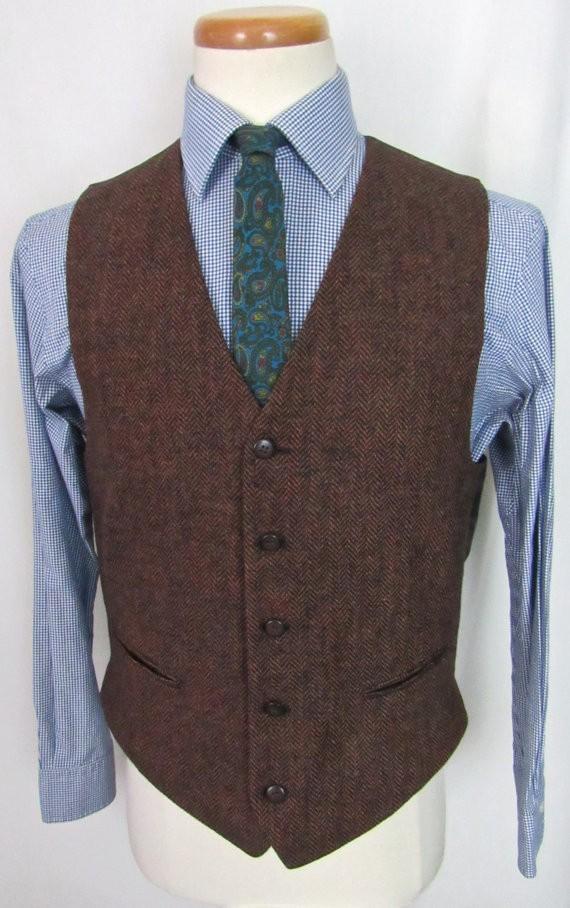 Британский стиль Brwon елочка Винтаж жилеты изготовление под заказ жениха жилет мужской Slim Fit мужского покроя Свадебные жилеты для мужчин ...