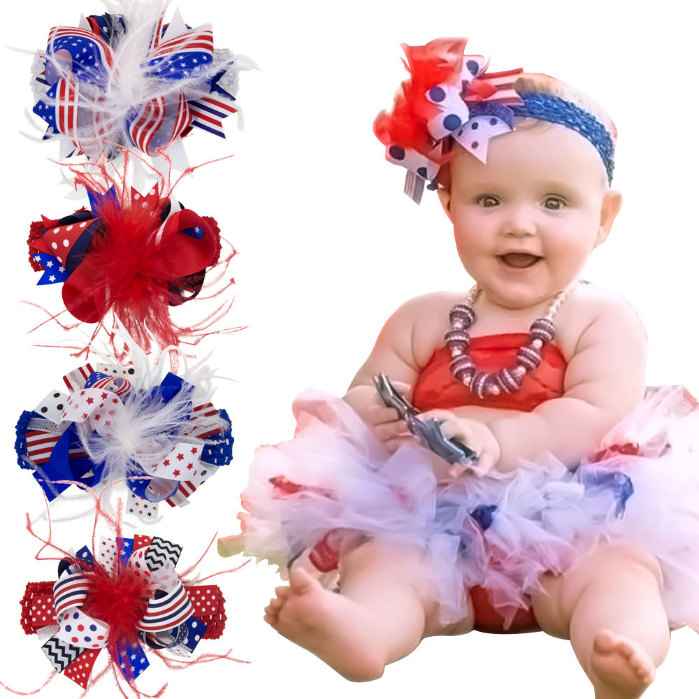 United States Flag Over The Top Hair Bow Flag Baby Headband 4th Of July Bows Girls Patriotic Big Bows Hair Bow With Clips HB376S