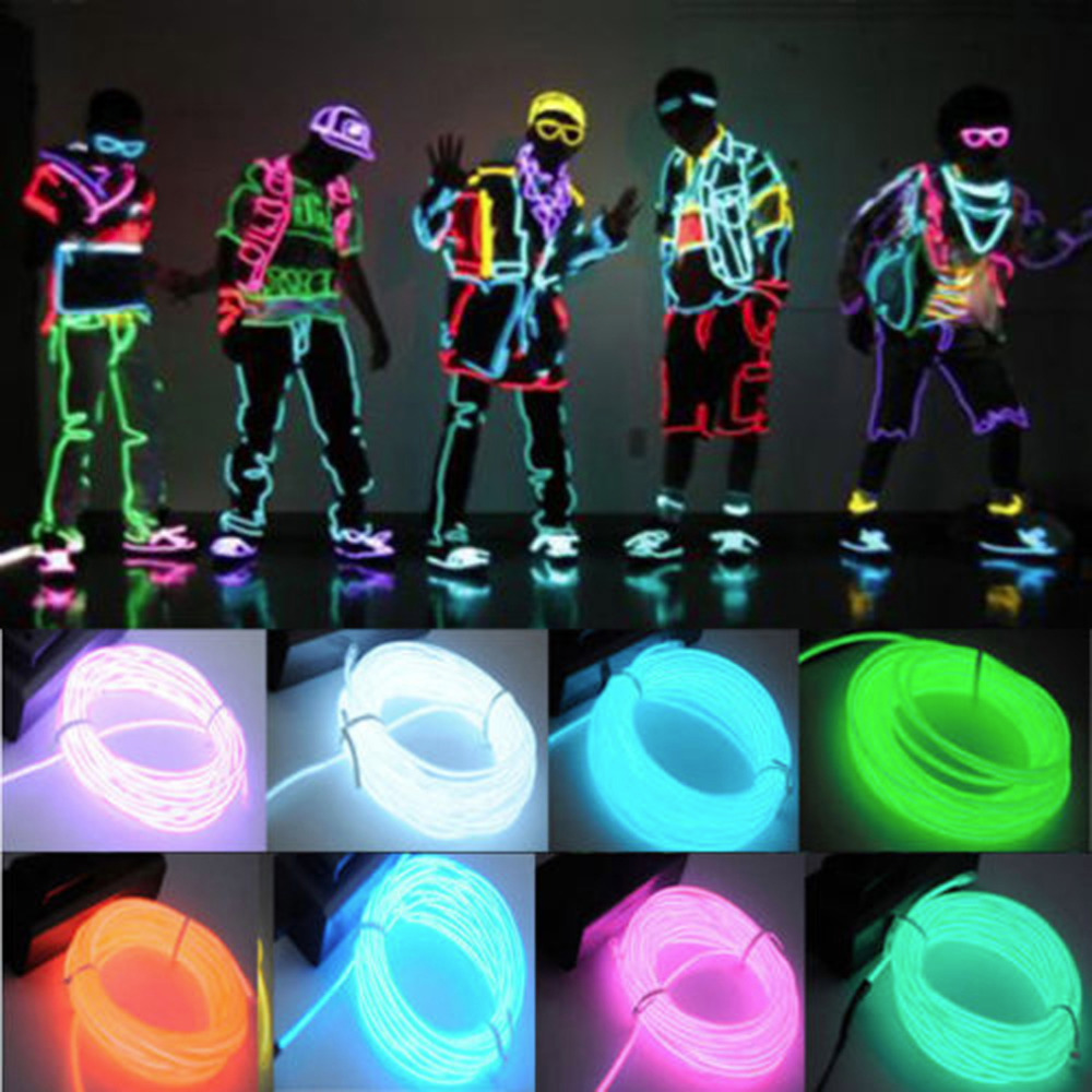 1pc 3M Flexible EL Wire Tube Rope Battery Powered Flexible Neon Light Car Party Wedding Decoration With Controller