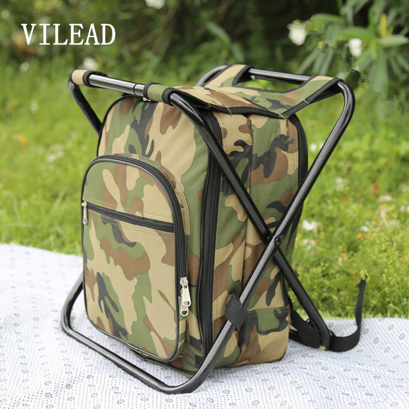 VILEAD 41*31*29CM Picnic Bag with Fishing Chair and Tableware for 2 Person or 4 Person Camouflage Multi-purpose Picnic Backpack outdoor portable insulated cooler picnic bag 4 person travelset with tableware lunch bag wine bag handle bag for camping hiking