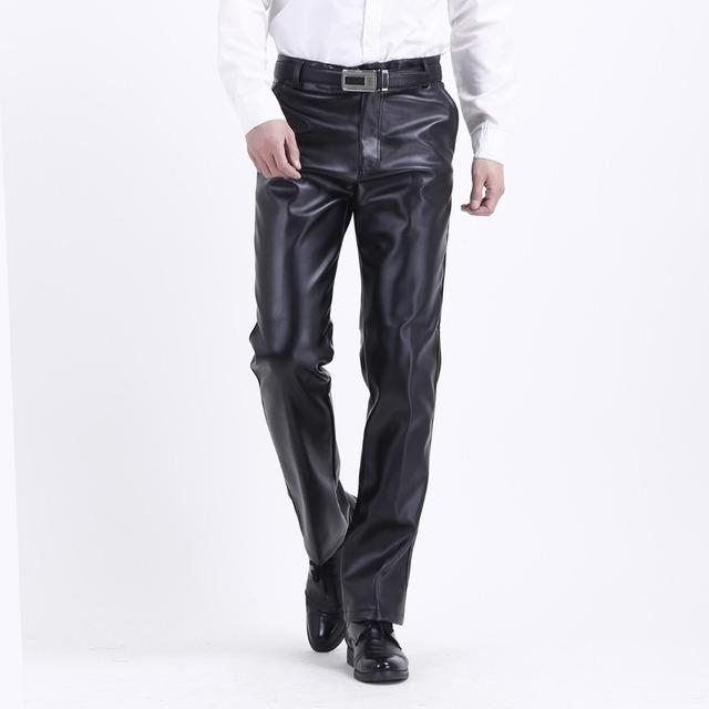 2016 Nuevo Invierno Cálido A Prueba de Viento de La Motocicleta de la pu pantalones de Cuero de Imitación de Cuero de negocios masculino Pantalón Negro 102003