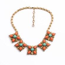 Orange Resin Flower Pendant Boho Necklace Women Bijoux Joyeria Fashion Bubble Bib Necklace Vintage Jewelry