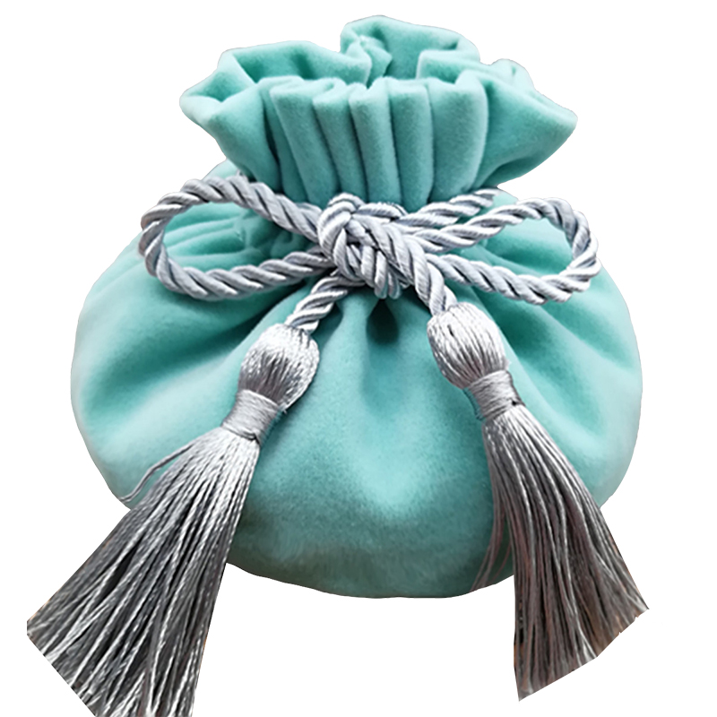 2019 New Blue Velvet Gift Bags With String Decor Gift Pouches Wedding Favors And Gifts Packaging Containers Wedding Candy Boxes