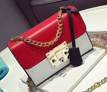Sweet lady simple splicing hit color chain lock bag, women fashion new cute shoulder diagonal cross bag