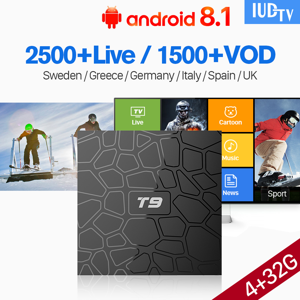 T9 Smart Android 8.1 TV Box IUDTV Code Sweden Spain UK Germany Greece Arabic IPTV Box 4GB 32GB BT4.0 Italy Iptv Subscription    T9 Smart Android 8.1 TV Box IUDTV Code Sweden Spain UK Germany Greece Arabic IPTV Box 4GB 32GB BT4.0 Italy Iptv Subscription