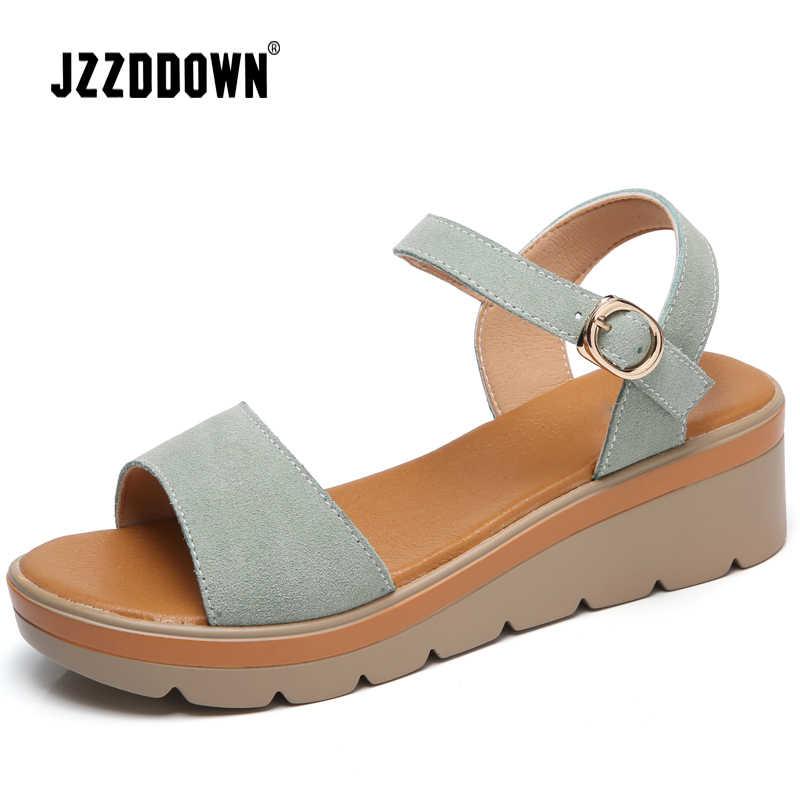 Kadınlar için platform sandaletler ayakkabı Inek Süet Deri bayanlar Yüksek Topuk Sandal Ayakkabı ayakkabı 2018 yaz Moda düz platformu ayakkabı