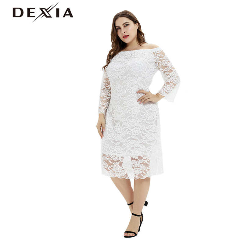 DEXIA Bohemian Plus Size 3XL White Mesh Women Dress Full Sleeve Black A-Line Elegant Patchwork Flower Off Shoulder Dress Ladies
