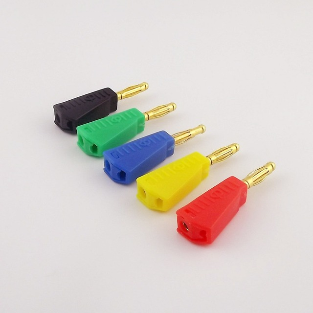 5 pièces Radioshack empilable 4mm banane mâle prise Jack adaptateur plaqué or connecteur à souder Type 5 couleurs