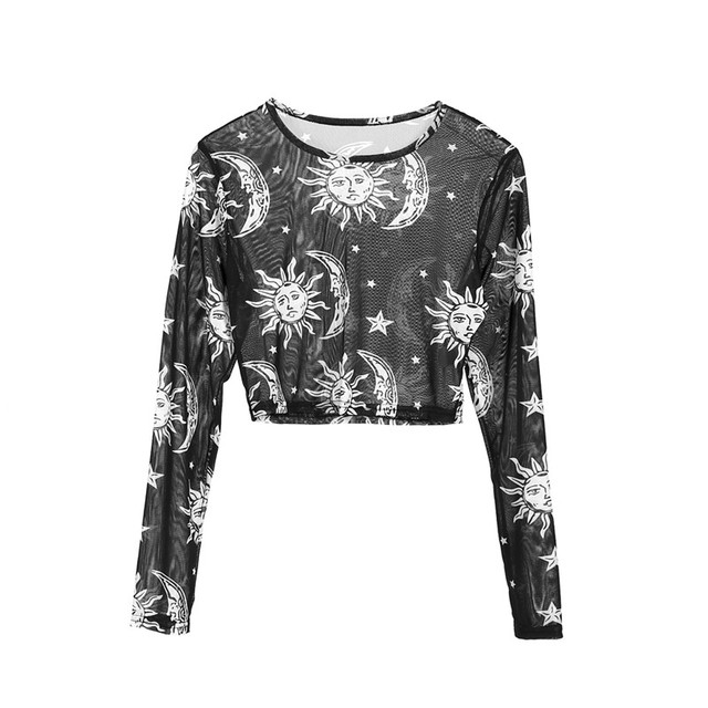 Women See Through Shirts Tops Summer 2019 Fashion Ladies Transparent Printing Blouse Pullovers Casual Ladies Night Clubwear 6